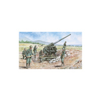 ITALIAN 90/53 GUN + SERVANTS WW2 FIGURES - ITA-06122