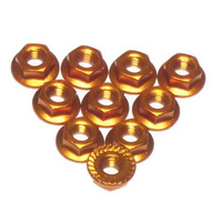 4Mm Alum Serrated Lock Nut - Orange 10 Pack - Ln-M4S-Or