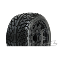 "STREET FIGHTER LP 2.8"" STREET TIRES MOUNTED ON RAID BLACK WHEELS (2) FOR STAMPEDE/RUSTLER 2WD & 4WD FR&RR"